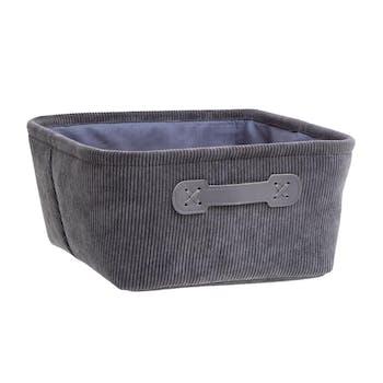 Panier de rangement velours côtelé gris carré