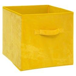 Panier de rangement velours jaune 31 cm