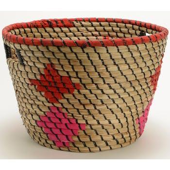 Panier déco motifs ethniques rouge fuchsia