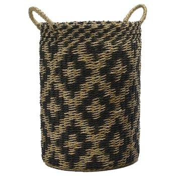 Panier esprit Etnik motifs losanges en jond de mer et corde noirs et naturels avec anses