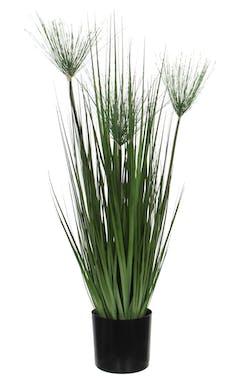 Papyrus vert artificiel en pot PVC noir D12xH76cm