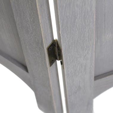Paravent 3 volets romantique en bois grisé clair170x120cm