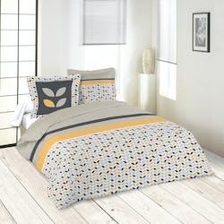 Parure de lit à motifs jaunes et gris et bandeaux 220x240 housse de couette + 2 taies 63x63 100% coton PEPA