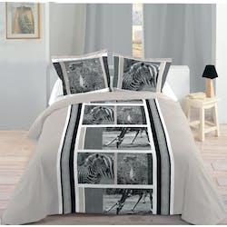 Parure de lit décor animaux de la Jungle 260x240 housse de couette + 2 taies 63x63 100% coton DAKHLA