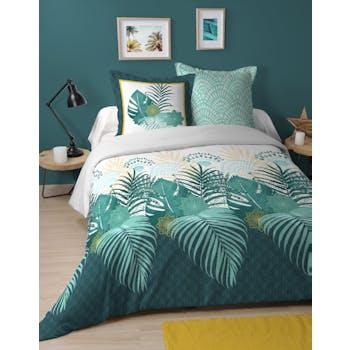 Parure de lit décor feuilles tropicales 2 personnes 240x220