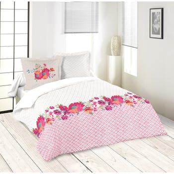 Parure de lit décor floral fuschia et écru 220x240 housse de couette + 2 taies 63x63 100% coton LOLITA FUSCHIA