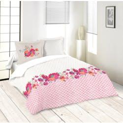 Parure de lit décor floral fuschia et écru 260x240 housse de couette + 2 taies 63x63 100% coton LOLITA FUSCHIA