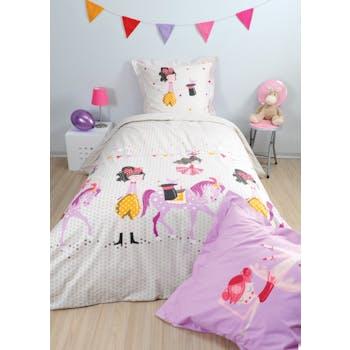 Parure de lit enfant cirque fille 140x200cm DRESSY