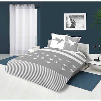 Parure de lit grise et blanche motif colibri 260x240cm housse de couette + 2 taies 63x63cm