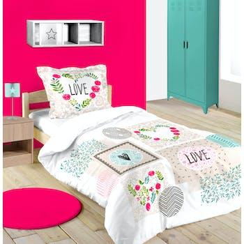 Parure de lit Love 1 personne 140 x 200 cm