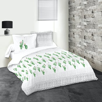 Parure de lit motifs cactus 260x240cm housse de couette + 2 taies 63x63cm DUOMA