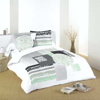 Parure de lit motifs rosaces tons verts, noirs et blancs 240x220 housse de couette + 2 taies 63x63 100% coton ZENIA