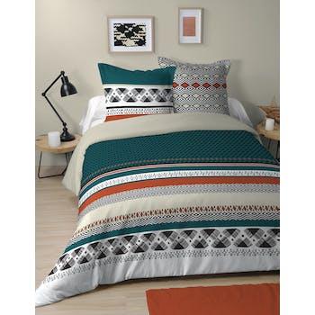 Parure de lit multicolore 2 personnes 240x220