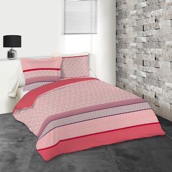 Parure de lit panaché de rose et corail 260x240 housse de couette + 2 taies 63x63 100% coton LIMA