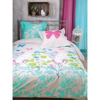 Parure de lit Qualité Supérieure décor floral couleurs vives 220x240 housse de couette + 2 taies 65x65 100% coton PANDORE