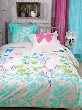 Parure de lit Qualité Supérieure décor floral couleurs vives 260x240 housse de couette + 2 taies 65x65 100% coton PANDORE