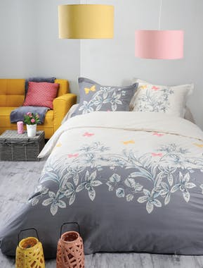 Parure de lit Qualité Supérieure décor floral des îles 260x240 housse de couette + 2 taies 65x65 100% coton MAHOE
