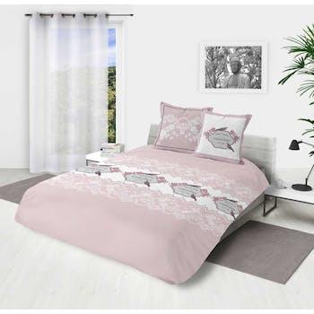 """Parure de lit rose et blanche décor """"Garden roses"""" 240x220cm housse de couette + 2 taies 63x63cm"""