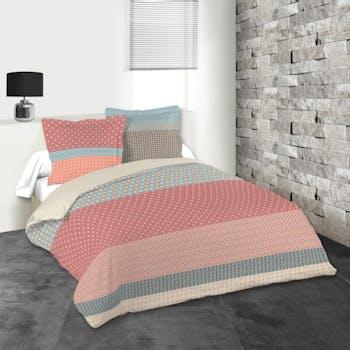 Parure de lit tons rouges, bleus et gris 260x240 housse de couette + 2 taies 63x63 100% coton VALENCIA