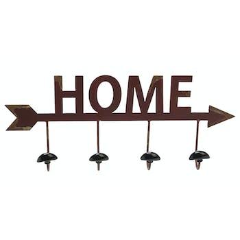"""Patère en métal rouge vieilli avec 4 crochets """"Home"""" 49,7x21x7cm"""