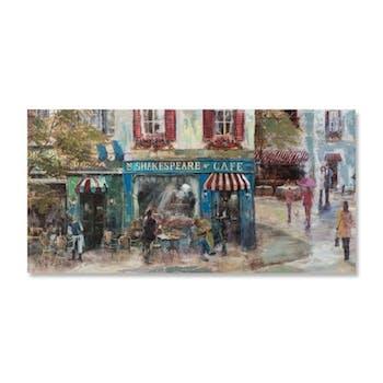PAYSAGES URBAINS 70x140 Peinture acrylique rectangle Bleu et Vert