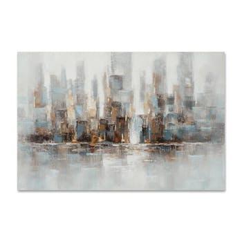 PAYSAGES URBAINS 80x120 Peinture acrylique rectangle Beige et Bleu