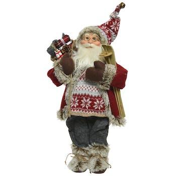 Père Noël figurine en habits rouges et skis 30 cm