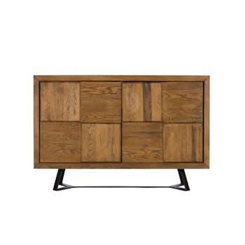 Buffet en bois de chene massif pieds metal de style contemporain
