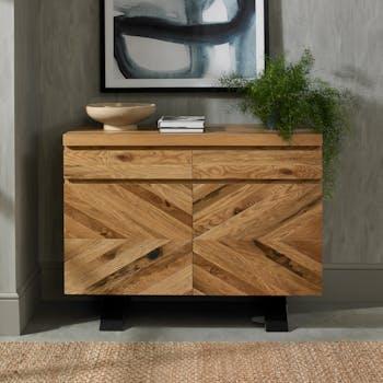 Petit buffet en marqueterie de chêne finition bois naturel ARLINGTON 2