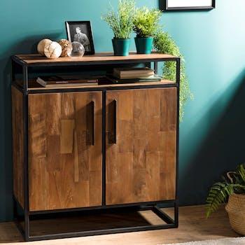 Petit buffet en bois reycle et metal deux portes de style contemporain