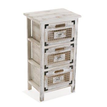 Petit meuble de rangement 3 tiroirs bois grillage