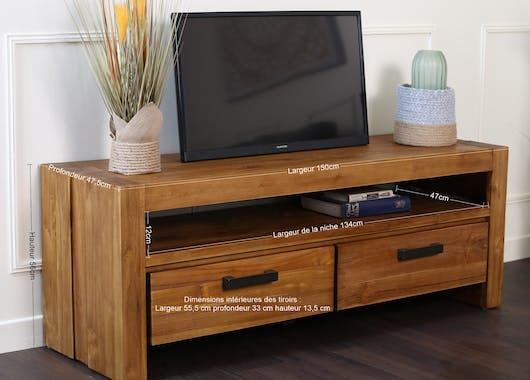 Petit meuble tv teck massif brossé RIO