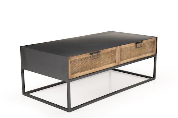 Petite table basse métal et cannage BILBAO