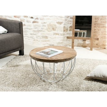 Table basse ronde en bois recycle et metal blanc style contemporain
