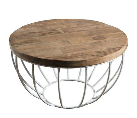Table basse ronde en bois recycle et metal blanc style contemporain