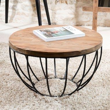 Table basse ronde en bois recycle et metal noir style contemporain