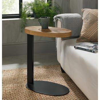 Petite table d'appoint en marqueterie de chêne finition bois naturel ARLINGTON 2