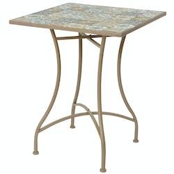 Petite table de jardin carreaux de ciment bleu et taupe 58 cm GRENADE