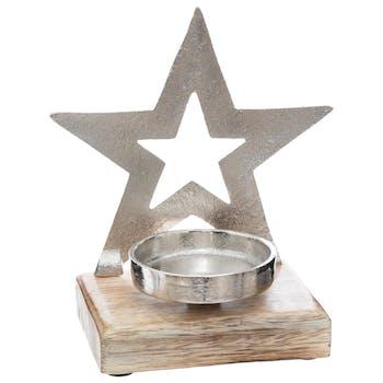Photophore bois et métal argenté décor étoile ajourée