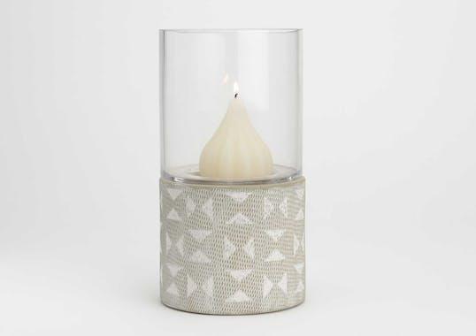 Photophore Evasion H27cm en verre et grès couleur sable décor pastilles blanches