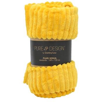Plaid à côtes couleur moutarde 160x130 cm