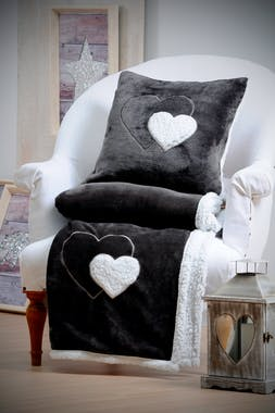 Plaid doux gris foncé cœur gris 130 x 160 cm