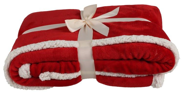 Plaid doux rouge et blanc 170 x 130 cm