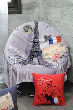 Plaid gris décor Paris romantique 130160cm METROPOLE