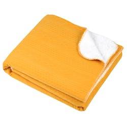 Plaid recto façon tricot et verso polaire moutarde et blanc 130x150cm MONTEA