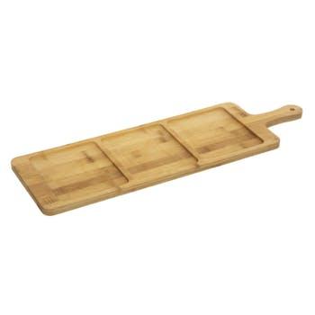 Planche apéritif bambou 3 compartiments