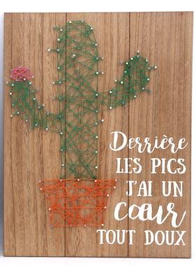 """Plaque déco Cactus """"Derrière les pics j'ai un c?ur tout doux"""" en bois 30x40cm"""