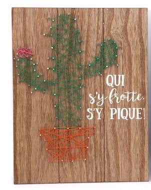 """Plaque déco Cactus """"Qui s'y frotte s'y pique"""" en bois 30x40cm"""