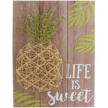 """Plaque en bois décoré Ananas """"Life is Sweet"""" 30x40cm"""