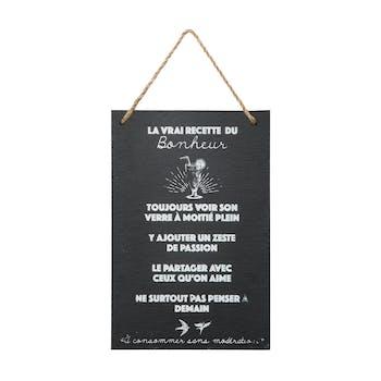 """Plaque message ardoise """"Bonheur"""""""